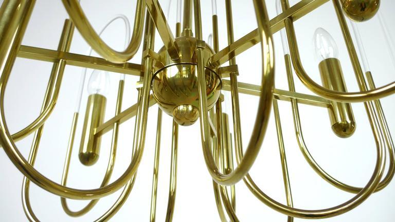 Brass Chandelier by Gaetano Sciolari for Sciolari Lighting, Italy, 1960s For Sale 4