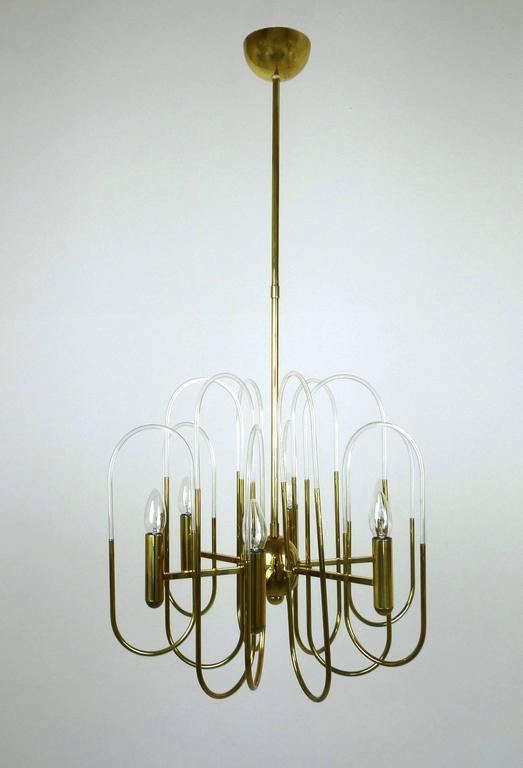 Mid-Century Modern Brass Chandelier by Gaetano Sciolari for Sciolari Lighting, Italy, 1960s For Sale