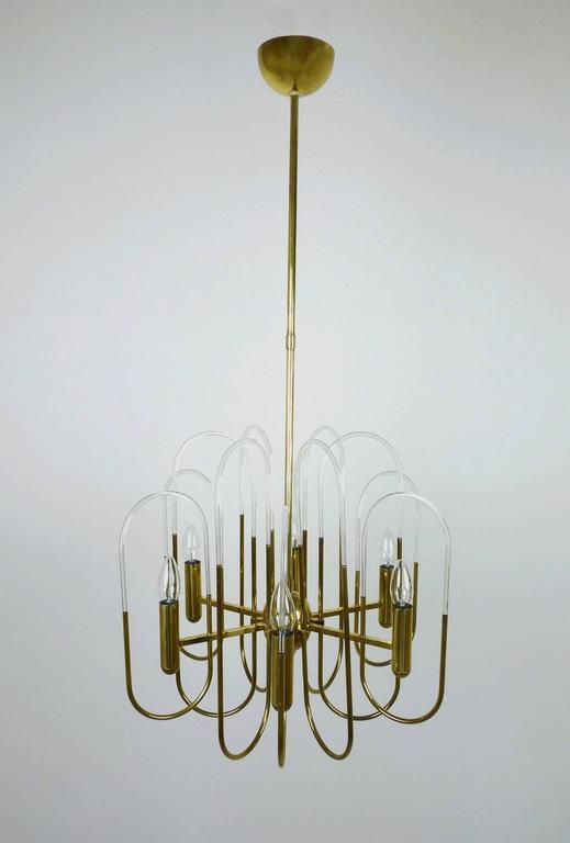 Italian Brass Chandelier by Gaetano Sciolari for Sciolari Lighting, Italy, 1960s For Sale