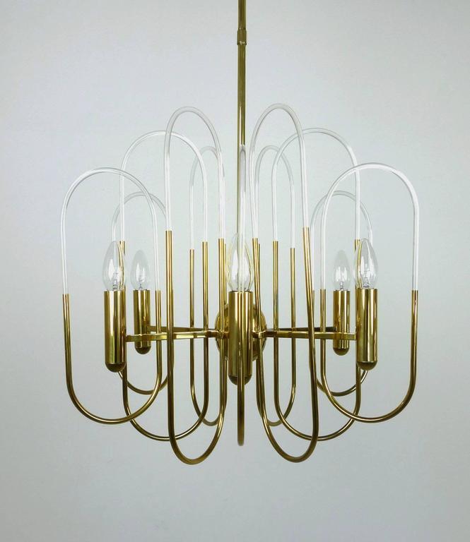 Brass Chandelier by Gaetano Sciolari for Sciolari Lighting, Italy, 1960s In Good Condition For Sale In Berlin, DE