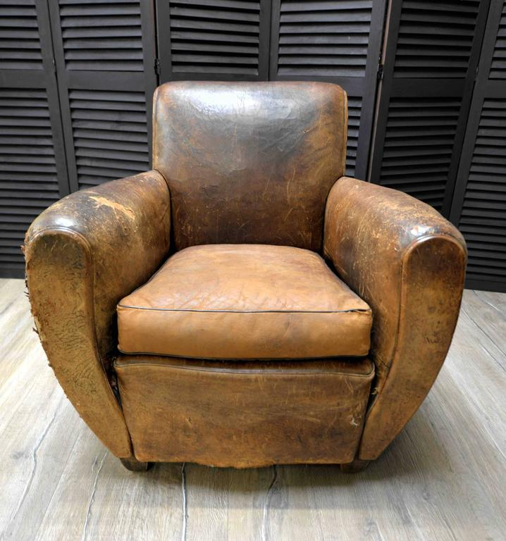 1920s French Art Deco Leather Lounge Cigar Cub Chairs For Sale at 1stdibs