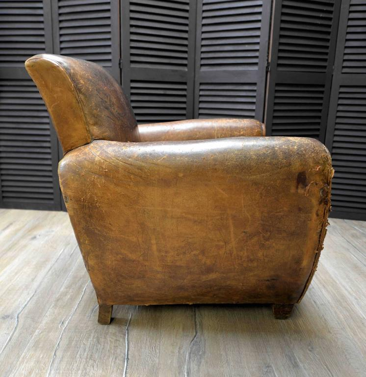 1920s French Art Deco Leather Lounge Cigar Cub Chairs 3