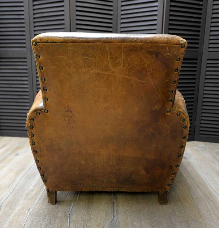 1920s French Art Deco Leather Lounge Cigar Cub Chairs 4