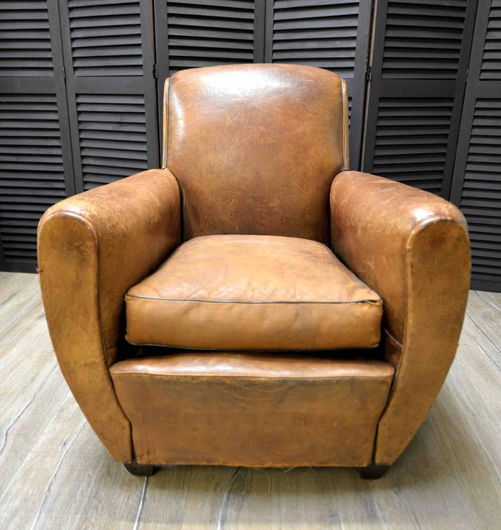 1920s French Art Deco Leather Lounge Cigar Cub Chairs 5