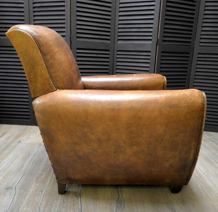 1920s French Art Deco Leather Lounge Cigar Cub Chairs 6