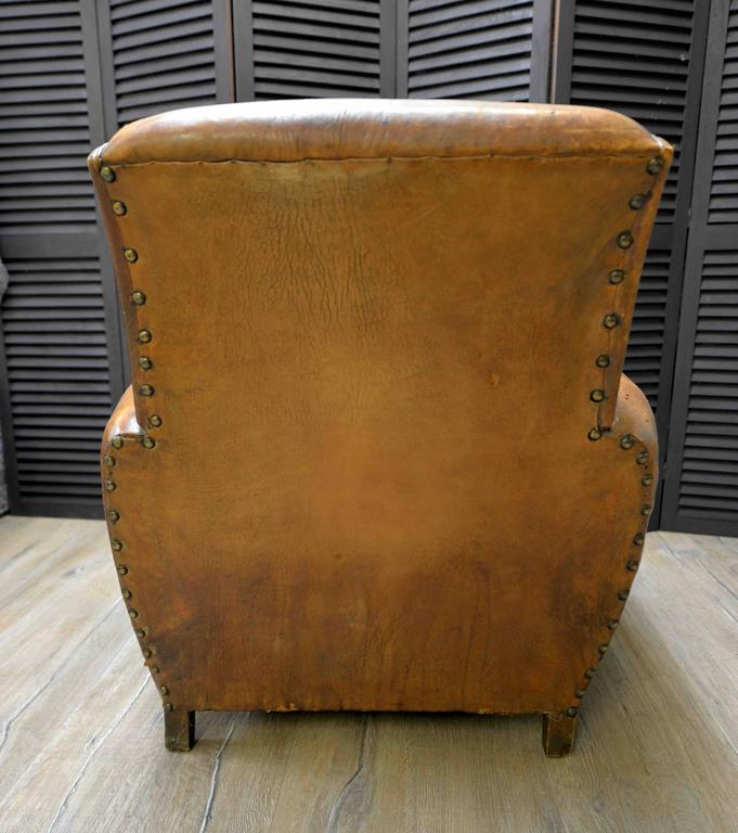 1920s French Art Deco Leather Lounge Cigar Cub Chairs 7
