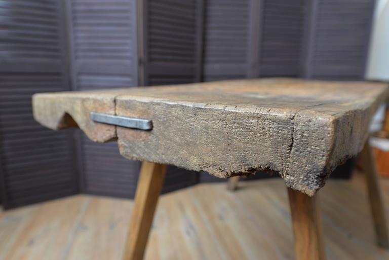 19th century solid wood french butcher s block rustic