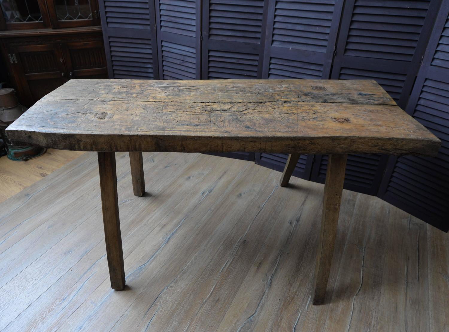 wood french butcher 39 s block rustic dining table for sale at 1stdibs