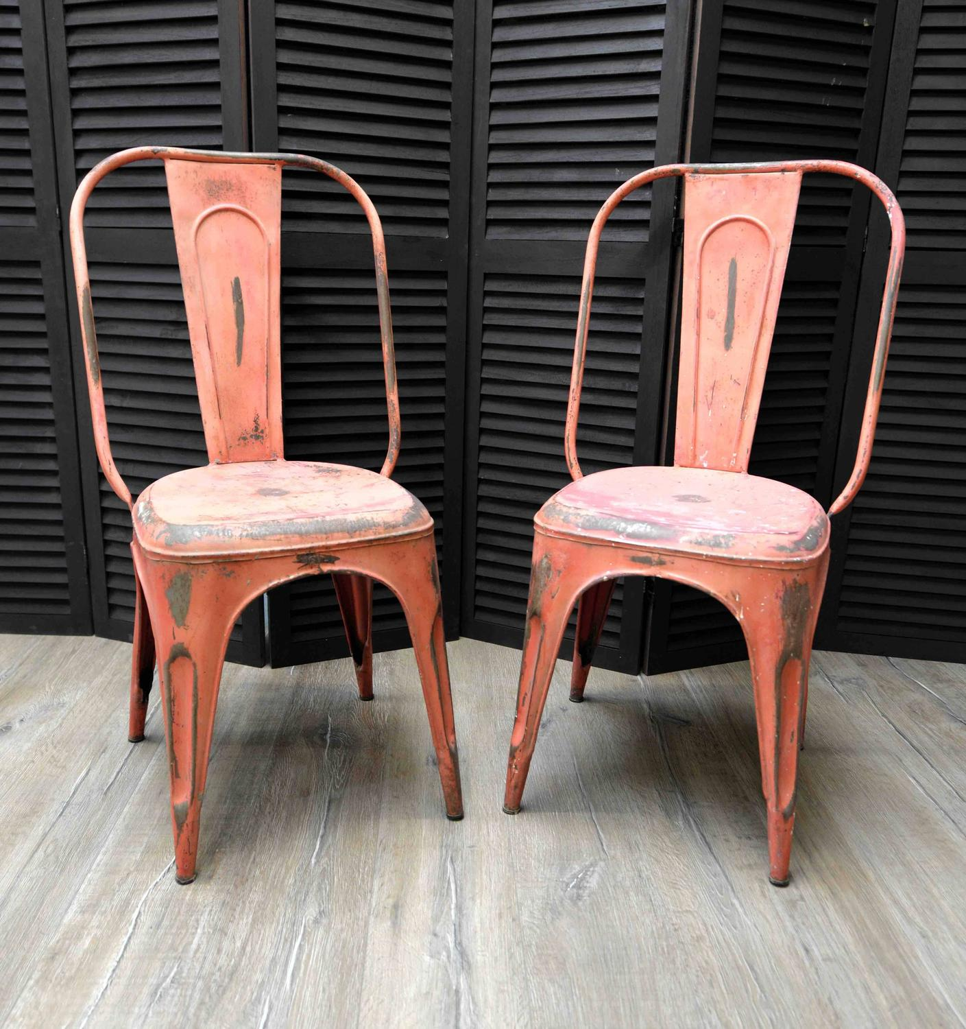 1950s French Metal Industrial Stacking Café Bistro Chairs