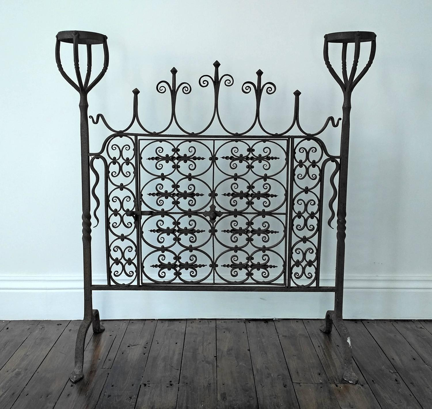 18th Century Wrought Iron Hand Forged Fire Screen For Sale At 1stdibs