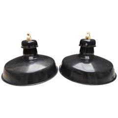 Black Enamel Industrial Pendants