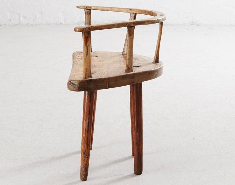 Superbe Primitive Wooden Chair From Dalarna, Sweden. Swedish Folk Furniture, Circa,  1700.