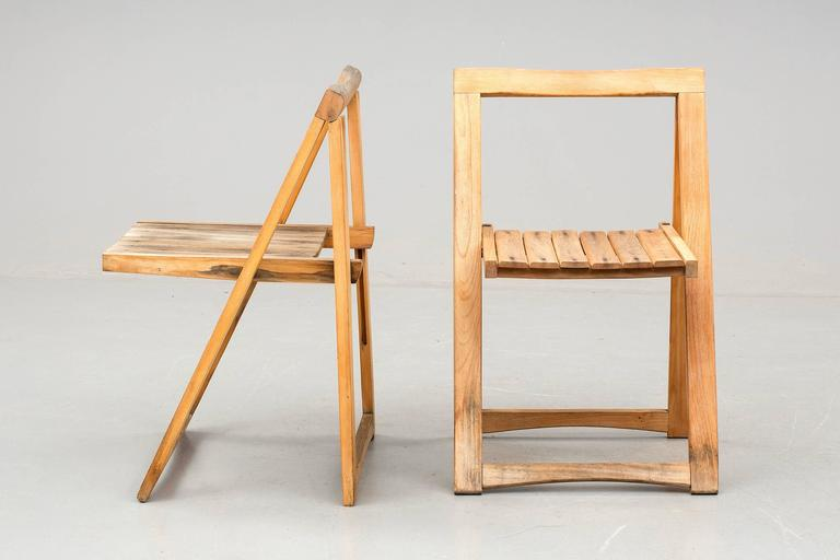 Set of Four Danish Mid Century Folding Chairs For Sale at 1stdibs