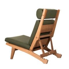 Hans Wegner AP71 Lounge Chair with Dark Green Fabric for AP Stolen, Denmark