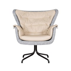 Pet 'eco friendly' Armchair in Grey and Cream Leather, Netherlands