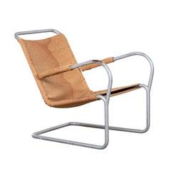 Lounge Chair in Tube Steel and Burlap Attributed to Bas Van Pelt, Netherlands
