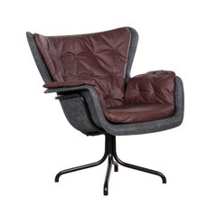 PET 'Eco Friendly' Armchair in Dark Grey and Red Brown Leather, Netherlands
