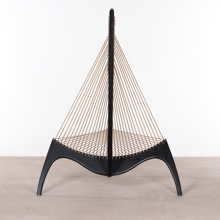 Scandinavian Modern Jørgen Høvelskov Black Harp Lounge Chair for Jørgen Christensens For Sale