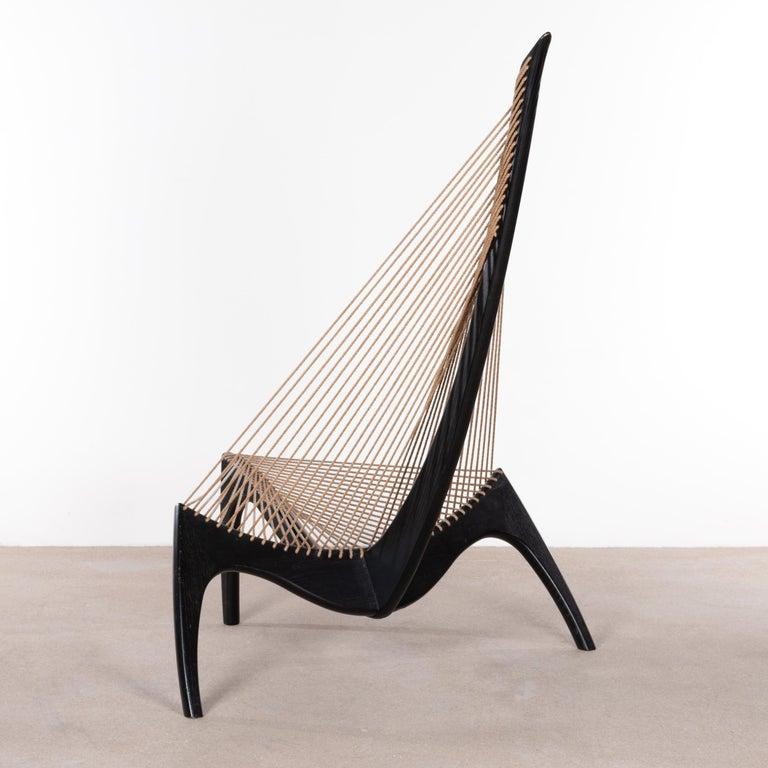 Danish Jørgen Høvelskov Black Harp Lounge Chair for Jørgen Christensens For Sale