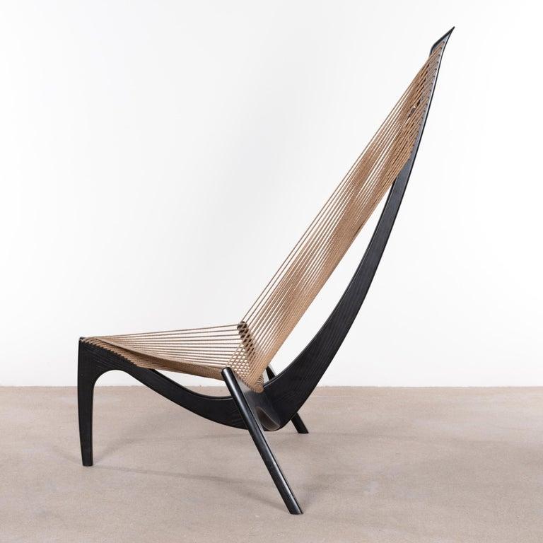 Jørgen Høvelskov Black Harp Lounge Chair for Jørgen Christensens In Good Condition For Sale In Amsterdam, NL