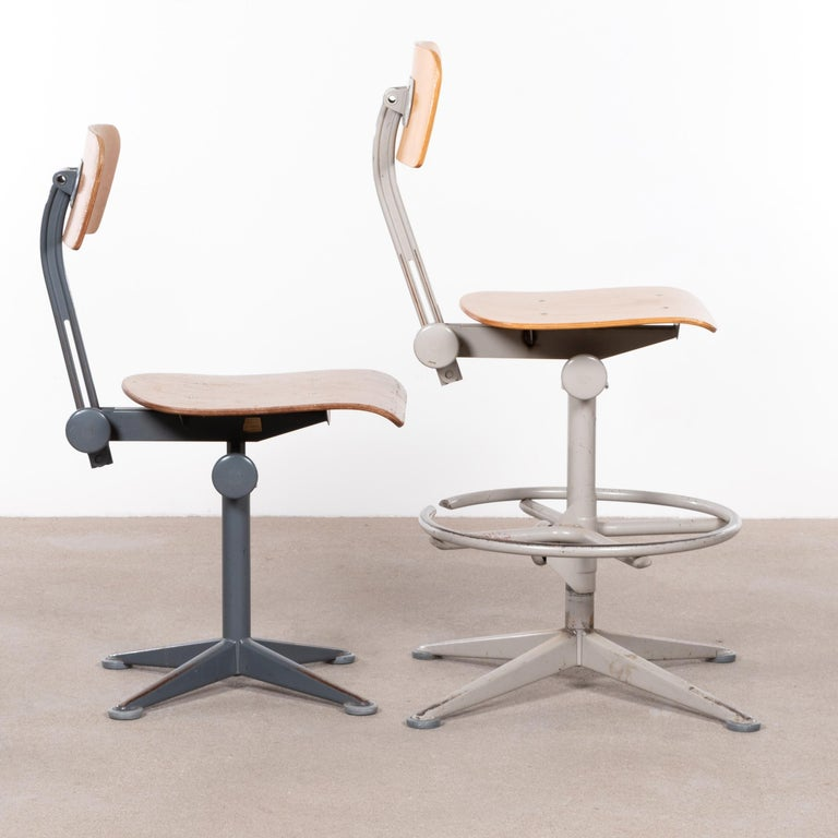 Mid-Century Modern Friso Kramer Industrial Drafting Stools for Ahrend de Cirkel, Netherlands For Sale