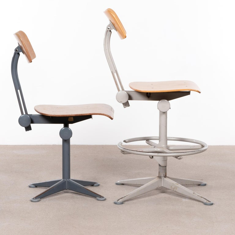 Dutch Friso Kramer Industrial Drafting Stools for Ahrend de Cirkel, Netherlands For Sale