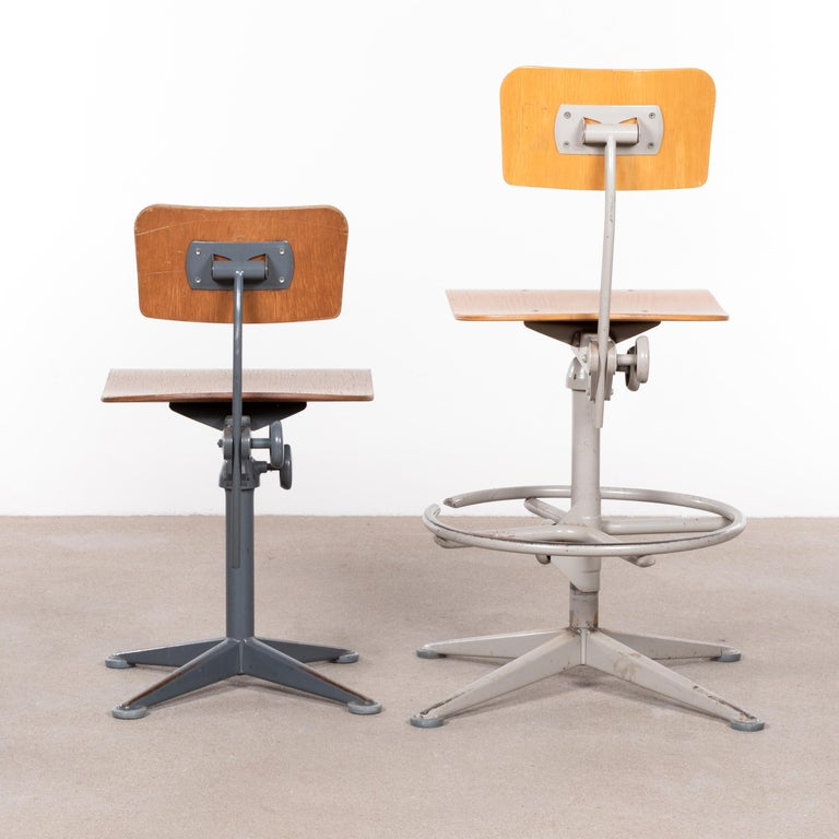 Steel Friso Kramer Industrial Drafting Stools for Ahrend de Cirkel, Netherlands For Sale