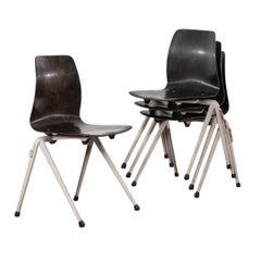 Multiple Galvanitas S20 Stackable Black and Grey Plywood Chairs, Netherlands