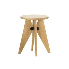 Jean Prouvé Tabouret/Stool Solvay in Solid Natural Oak by Vitra