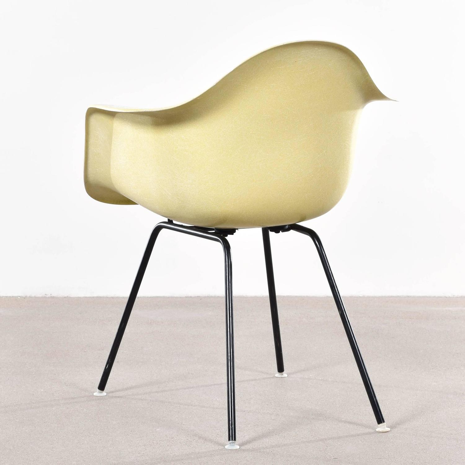 eames lemon yellow dax dining chair for herman miller at