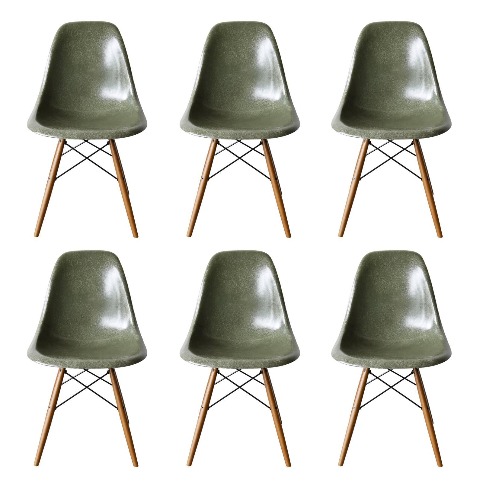 Set Of Six Eames Olive Green Dark Dsw Herman Miller, Usa Dining Chairs For  Sale