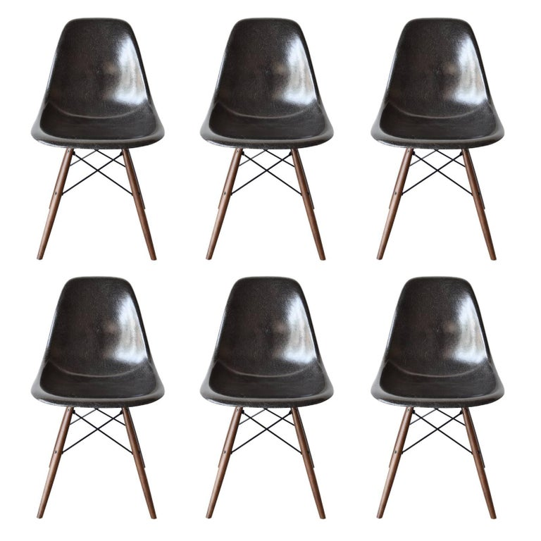 Set of Six Eames Black Dsw Herman Miller, USA Dining Chairs