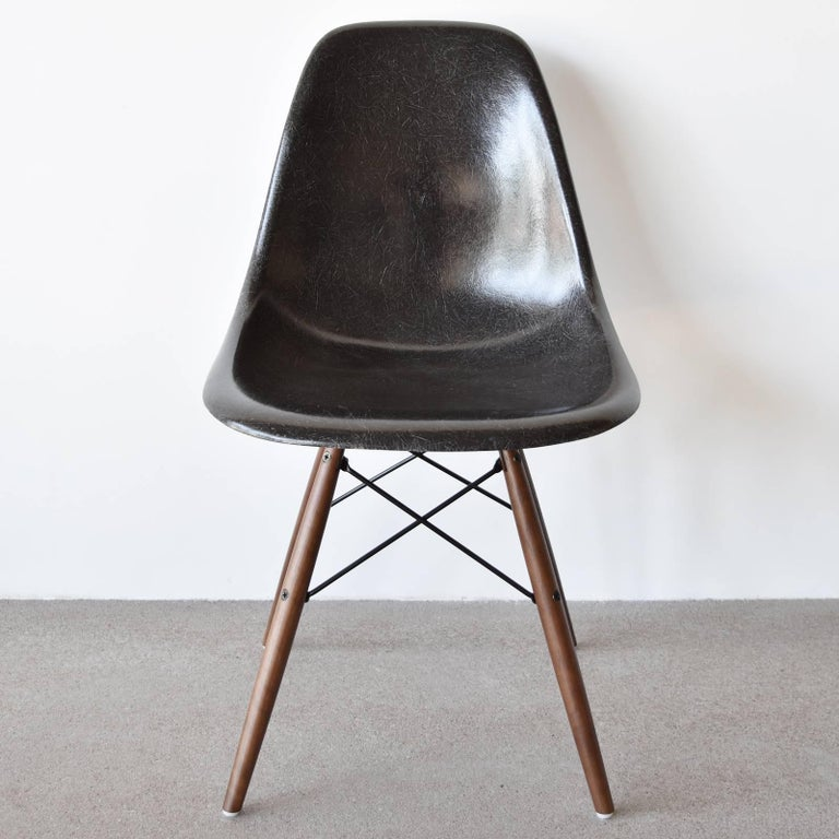 Beautiful iconic Black DSW chairs. The shells are in very good/excellent condition with only slight traces of use. Replaced shock mounts which guarantee save usability for the next decades. Each chair is signed with embossed Herman Miller logo