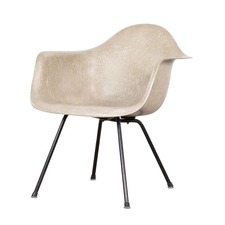 Eames Greige Lax Armchair by Herman Miller USA 'Zenith Rope'