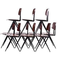 Multiple Black Galvanitas Industrial Plywood Chairs S16, Netherlands