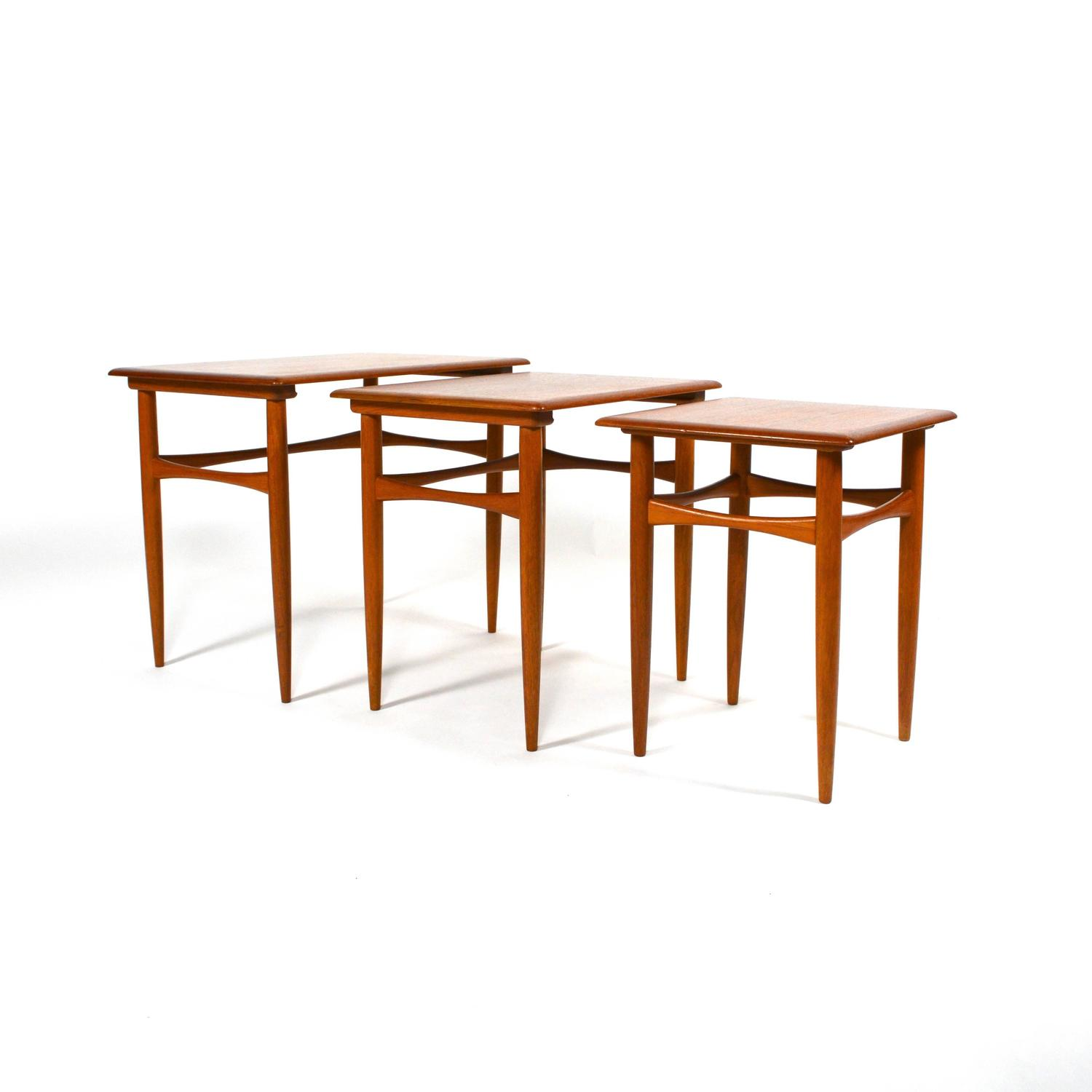 Teak Nesting Tables ~ Poul hundevad danish teak nesting tables mid century at