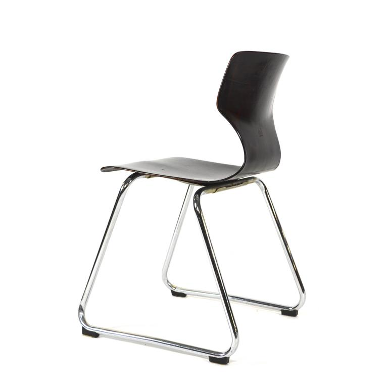 Mid-Century Modern Multiple Elmar Flötotto Germany Pagholz Stacking Chairs, Germany