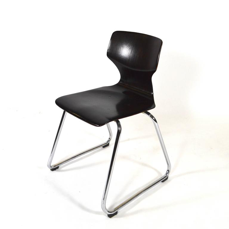 Chrome Multiple Elmar Flötotto Germany Pagholz Stacking Chairs, Germany