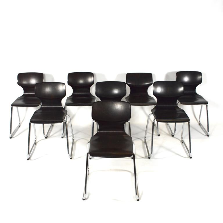Multiple Elmar Flötotto Germany Pagholz Stacking Chairs, Germany 1