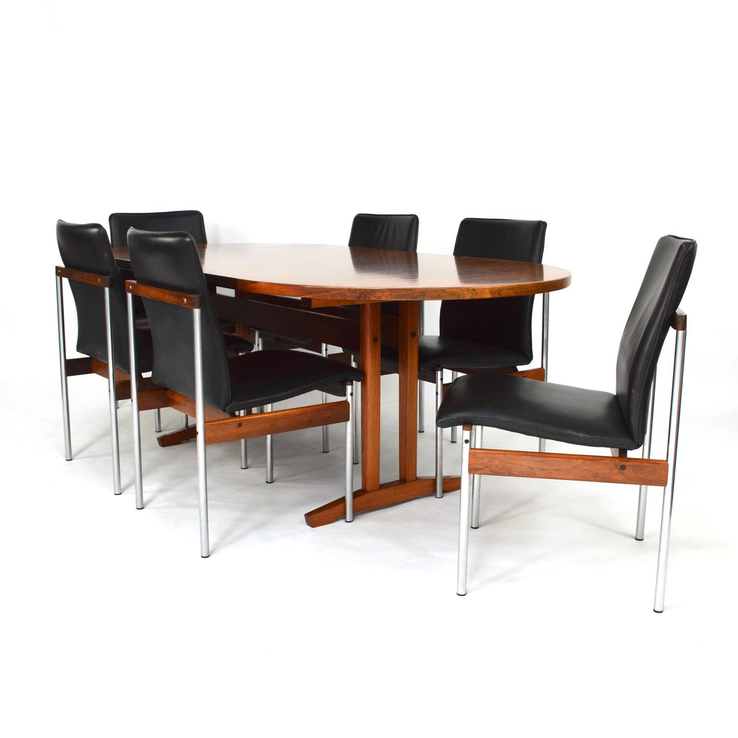 Set Of Six Brazilian Rosewood, Leather And Chrome Dining