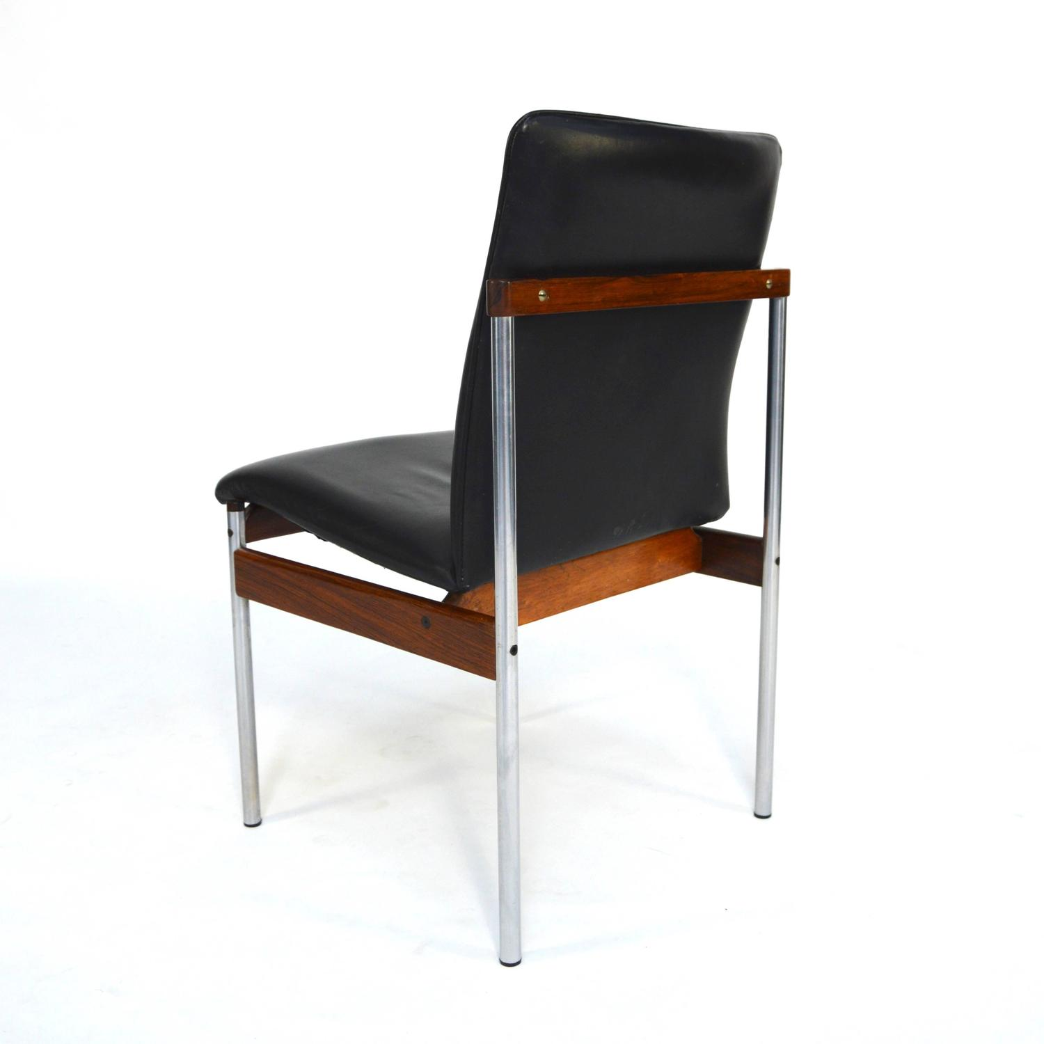 Set of six brazilian rosewood leather and chrome dining for Leather and chrome dining chairs