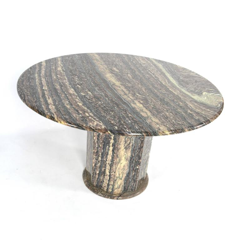 Beautiful Round Marble Dining Table With Beautiful Veins And Colors In The  Marble. The Table