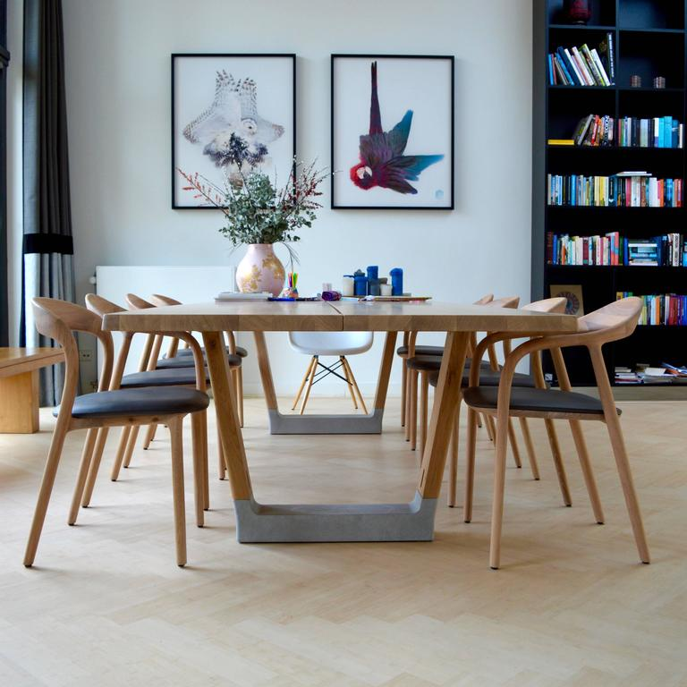 Mid Century Modern Neva Light Dining Chairs In Oak And Leather For