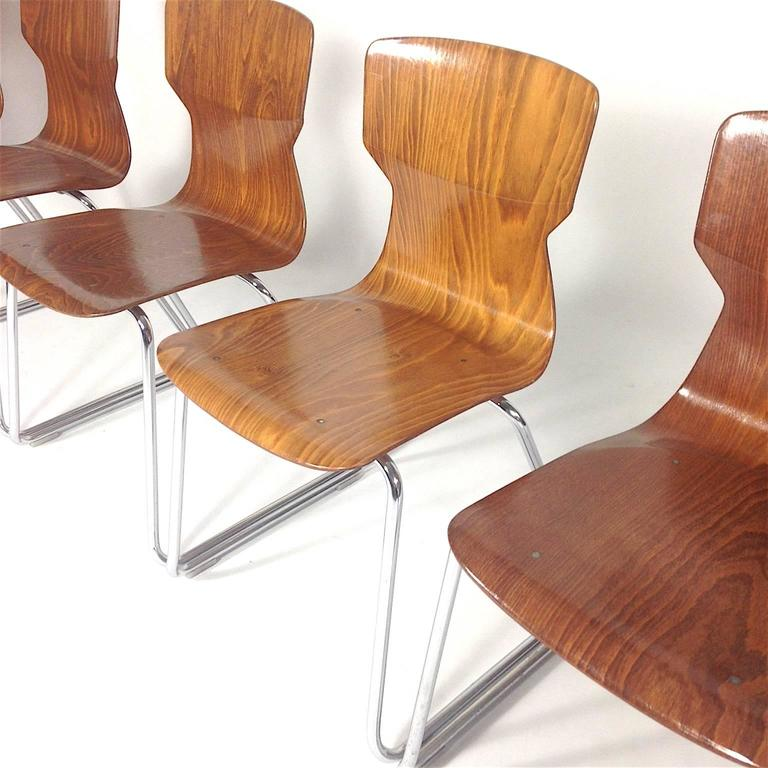 Mid Century Modern Four Casala Pagholz Plywood School Chairs For Sale