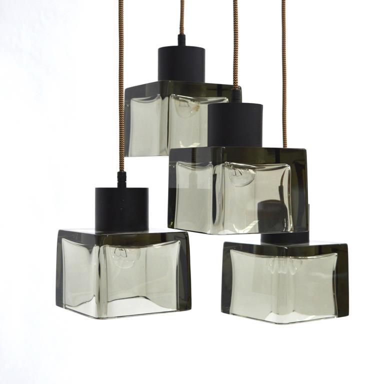 Italian Very Rare Flavio Poli 'Cube' Pendant Lamp for Seguso, Italy, 1950s For Sale