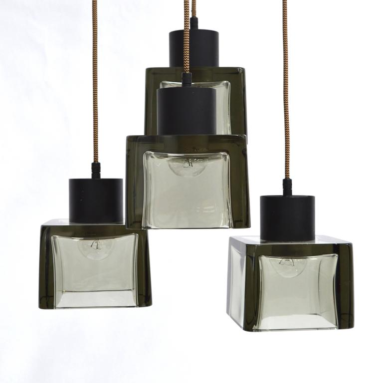 Very Rare Flavio Poli 'Cube' Pendant Lamp for Seguso, Italy, 1950s In Excellent Condition For Sale In Pijnacker, Zuid-Holland