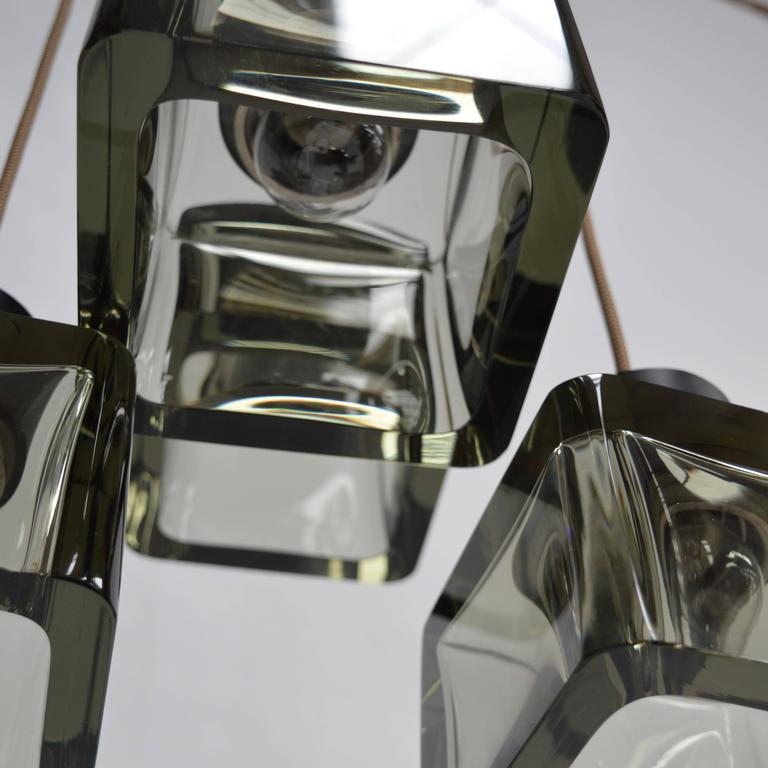 Very Rare Flavio Poli 'Cube' Pendant Lamp for Seguso, Italy, 1950s For Sale 2