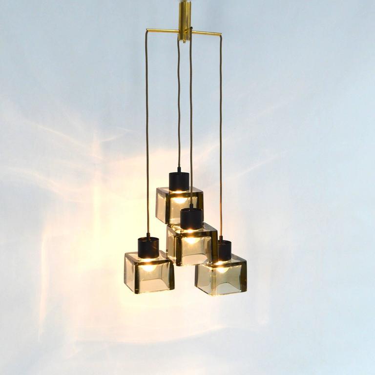 Mid-Century Modern Very Rare Flavio Poli 'Cube' Pendant Lamp for Seguso, Italy, 1950s For Sale