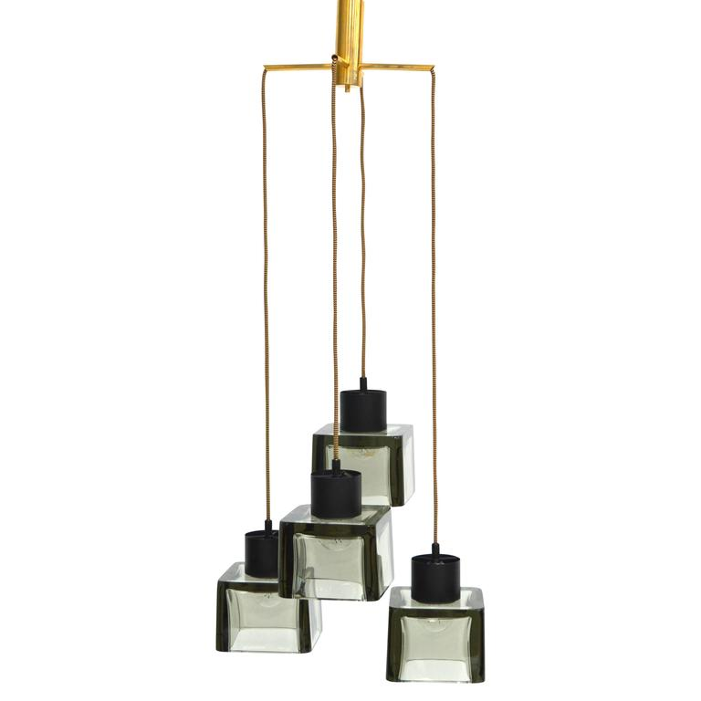 Rare four cube pendant lamp by Flavio Poli for Seguso, Italy, 1950s.