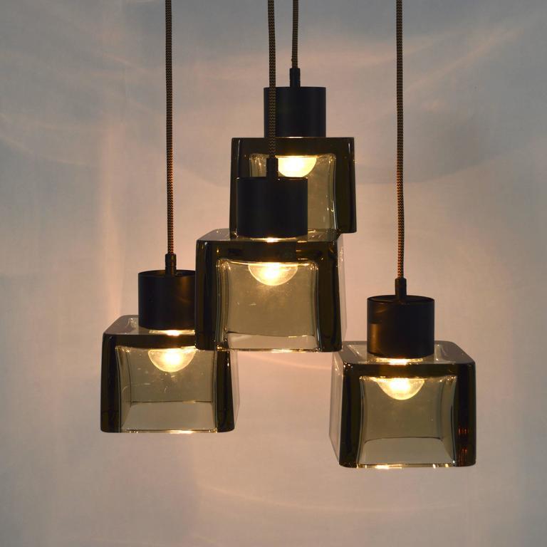 Mid-20th Century Very Rare Flavio Poli 'Cube' Pendant Lamp for Seguso, Italy, 1950s For Sale